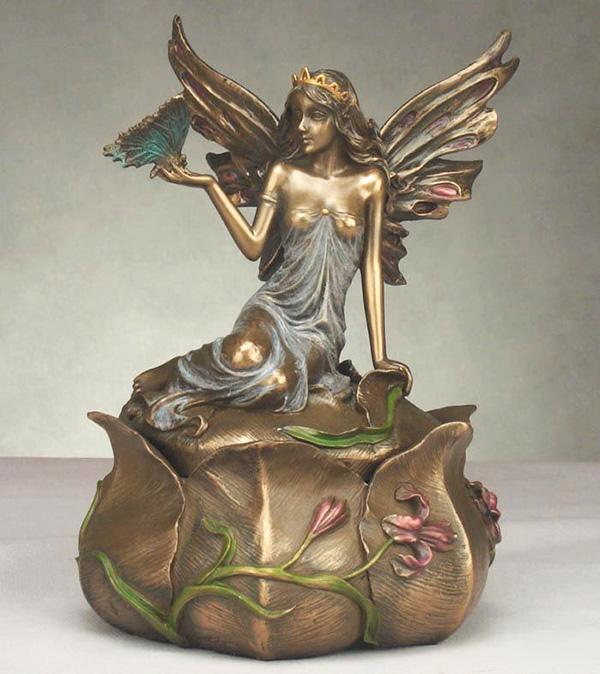 Šperkovnice s figurkou elfí víly s motýlem
