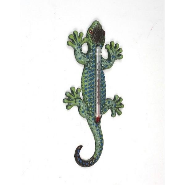 Litinový teploměr ještěrka